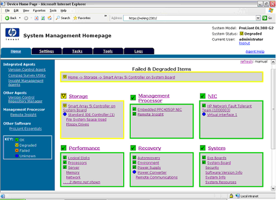 HP System Management Homepage task